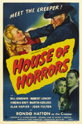 "Movie Posters:Horror, House of Horrors (Universal, 1946). One Sheet (27"" X 41""). RondoHatton returns as The Creeper. In this horror thriller he's..."