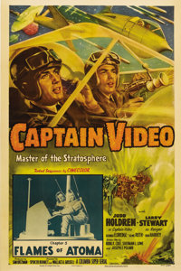"Captain Video, Master of the Stratosphere (Columbia, 1951). One Sheet (27"" X 41""). The only serial based on a..."
