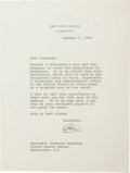 "Autographs:U.S. Presidents, Richard M. Nixon fine content Typed Letter Signed ""RN"" as President, one page on White House letterhead, 7 x 9 inche..."