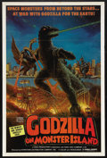 "Movie Posters:Science Fiction, Godzilla on Monster Island (Toho, 1972). One Sheet (27"" X 41"").Sci-Fi Action. Starring Yuriko Hishimi, Tomoko Umeda, Hirosh..."