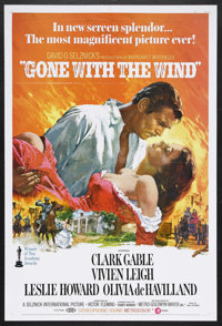"Gone with the Wind (MGM, R-1970). One Sheet (27"" X 41""). Drama. Starring Vivien Leigh, Clark Gable, Leslie How..."