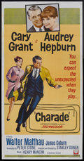 "Movie Posters:Mystery, Charade (Universal, 1963). Three Sheet (41"" X 81""). Thriller.Starring Cary Grant, Audrey Hepburn, Walter Matthau and James ..."