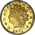 California Fractional Gold: , 1872/1 25C Indian Round 25 Cents, BG-869, Low R.4, MS65 ProoflikeNGC. Watery, deeply mirrored fields combine with intensel...