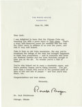 "Autographs:U.S. Presidents, Ronald Reagan Typed Letter Signed as President, one page, 6.75"" x9"", on embossed White House letterhead, Washington, D.C., ..."