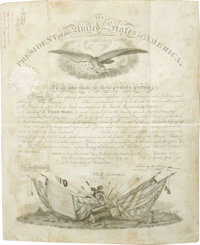 """James K. Polk partly printed Document Signed James K. Polk"""" as President, one page, 15 x 18 inches on vellum, Washi..."""