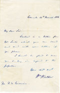 "Autographs:Celebrities, William Walker Autograph Letter Signed ""Wm. Walker"", onepage, 5"" x 8.25"", Granada, Nicaragua, March 14, 1856, to Doming..."
