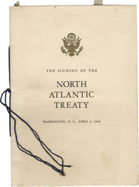 Printed Booklet Commemorating the Signing of the North Atlantic Treaty From the Estate of Clark Clifford. Printed bookle...