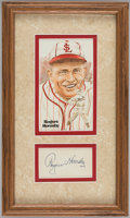 Autographs:Index Cards, Rogers Hornsby Signed Index Card Framed Display....