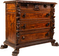 Furniture , An Italian Renaissance Revival Carved Walnut Chest of Drawers, late 19th century . 43-1/4 x 52 x 24-1/2 inches (109.9 x 132....
