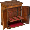Decorative Accessories, An English Mahogany and Burlwood Coin Collector's Cabinet, 19th century. 23-1/4 x 17-1/2 x 13-3/4 inches (59.1 x 44.5 x 34.9...