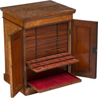 An English Mahogany and Burlwood Coin Collector's Cabinet, 19th century 23-1/4 x 17-1/2 x 13-3/4 inches (59.1 x 44