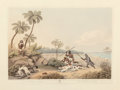 Fine Art - Work on Paper:Print, A Set of Seven Lithographs Featuring Indian Hunting Scenes...