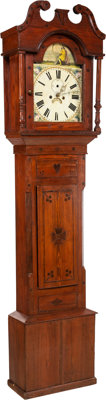 An English George III Pine Longcase Clock, late 18th century 87-1/2 x 20-1/4 x 10 inches (222.3 x 51.4 x 25.4 cm)