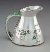 A Los Castillo Hardstone-Mounted and Inlaid Silver-Plated Pitcher, Taxco, Mexico, mid-20th century Marks: PLATEADO, TA-0...