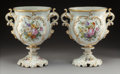 Ceramics & Porcelain:Antique  (Pre 1900), A Pair of French Limoges-Style Polychromed and Gilt Porcelain Vases, late 19th century . Mark to one vase: DP. 12 x 11-1... (Total: 2 Items)