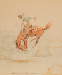 Edward Borein (American, 1873-1945) Bucking Bronco Watercolor and pencil on board 5-1/4 x 4 inches (13.3 x 10.2 cm) (