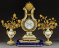 Decorative Arts, French:Other, A Three-Piece French Louis XVI-Style Gilt Bronze and PasteDiamond-Mounted Alabaster Clock Garniture Retailed by Tiffany &Co.... (Total: 4 Items)