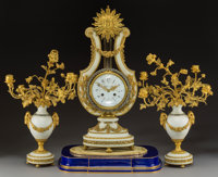 A Three-Piece French Louis XVI-Style Gilt Bronze and Paste Diamond-Mounted Alabaster Clock Garniture Retailed by Tiffany...