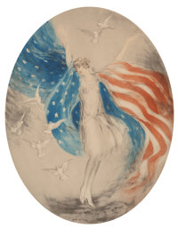 Louis Justin Laurent Icart (French/American, 1888-1950) Miss America, 1927 Etching with hand coloring on paper 20-3/8