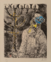 Marc Chagall (1887-1985) Aaron et le chandelier, from La Bible, 1952 Etching with handcol