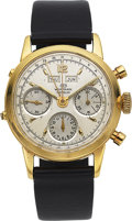 Timepieces:Wristwatch, Wakmann, Fine 18k Gold Chronograph With Calendar, circa 1960. ...