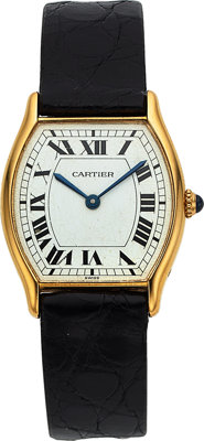 """Cartier, """"Tortue"""", 18k Yellow Gold, """"Spider Dial"""", Manual Wind, Circa 1980's"""