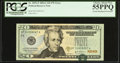 Error Notes:Shifted Third Printing, Partial Misaligned Overprint Fr. 2092-F $20 2004A Federal Reserve Note. PCGS Choice About New 55PPQ.. ...
