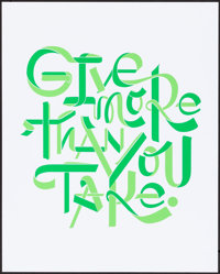 "Facebook Motivational Poster (Facebook, 2010s). Near Mint. Screen Print Poster (16"" X 20""). ""Give More Th..."
