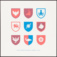 """Game of Thrones Screening (Facebook, 2013). Near Mint. Screen Print Poster (16"""" X 16""""). Miscellaneous"""