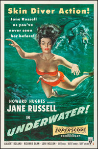 "Underwater! (RKO, 1955). Folded, Very Fine. One Sheet (27"" X 41""). Drama"