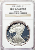 Modern Bullion Coins, 1988-S $1 Silver Eagle PR70 Ultra Cameo NGC. NGC Census: (1466). PCGS Population: (1578). ...