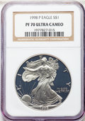 1998-P $1 Silver Eagle PR70 Ultra Cameo NGC. NGC Census: (2199). PCGS Population: (2359)