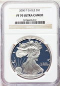 2000-P $1 Silver Eagle PR70 Ultra Cameo NGC. NGC Census: (6). PCGS Population: (1611)