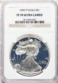 1999-P $1 Silver Eagle PR70 Ultra Cameo NGC. NGC Census: (1484). PCGS Population: (1756)