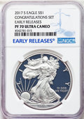 Modern Bullion Coins, 2017-S $1 Silver Eagle, Congratulations Set, Early Releases, PR70 Ultra Cameo NGC. NGC Census: (7699). PCGS Population: (91...