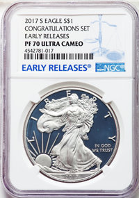 2017-S $1 Silver Eagle, Congratulations Set, Early Releases, PR70 Ultra Cameo NGC. NGC Census: (7699). PCGS Population:...