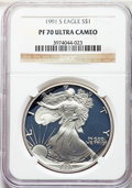 Modern Bullion Coins, 1991-S $1 Silver Eagle PR70 Ultra Cameo NGC. NGC Census: (1125). PCGS Population: (1250). ...