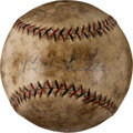 Baseball Collectibles:Balls, 1927 Babe Ruth Single Signed Batting Practice Foul Baseball....