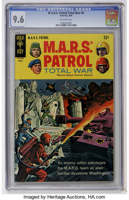 M.A.R.S. Patrol Total War #6 (Gold Key, 1968) CGC NM+ 9.6 Off-white pages....