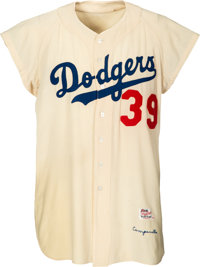 1956 Roy Campanella Game Worn Brooklyn Dodgers Jersey, MEARS A9.5