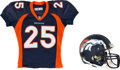 Football Collectibles:Helmets, 2001 Eric Davis Game Worn & Signed Denver Broncos Helmet and Jersey from The Eric Davis Collection....