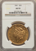 Liberty Double Eagles, 1861 $20 AU55 NGC....