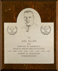 Baseball Collectibles:Others, 1947-64 Mel Allen Scorecards Lot of 41 & Award from Happy Chandler. ...