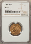 Indian Half Eagles: , 1908-S $5 AU55 NGC. NGC Census: (109/355). PCGS Population: (44/384). CDN: $1,300 Whsle. Bid for problem-free NGC/PCGS AU55...