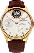 Timepieces:Wristwatch, IWC, Portuguese Tourbillon Mystere, 18k Pink Gold Silver Dial, LtdEd. No. 224/250, Ref. 5042, Circa 2005. ...