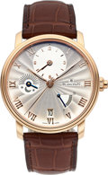 Timepieces:Wristwatch, Blancpain, Very Fine Villeret Half Timezone GMT, 18K Rose Gold, Automatic, Full Set, Ref. 6665.3642.55B, Circa 2018. ...