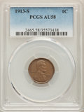 Lincoln Cents: , 1913-S 1C AU58 PCGS. PCGS Population: (104/265). NGC Census: (41/140). CDN: $115 Whsle. Bid for problem-free NGC/PCGS AU58....