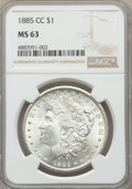 1885-CC $1 MS63 NGC. NGC Census: (3129/6298). PCGS Population: (5975/14226). CDN: $625 Whsle. Bid for problem-free NGC/P...