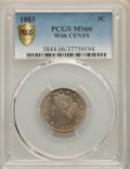 1883 5C With Cents MS66 PCGS. PCGS Population: (70/18 and 32/0+). NGC Census: (46/2 and 2/1+). CDN: $1,200 Whsle. Bid fo...
