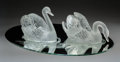 Glass, Lalique Miroir Cygnes Glass Figures, Paris, post-1945. Marks: LALIQUE®, PARIS. 9-1/2 x 12 x 7-1/2 inches (24... (Total: 3 Items)